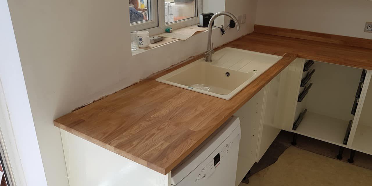 Oak Worktop Installation In Prenton Wirral England
